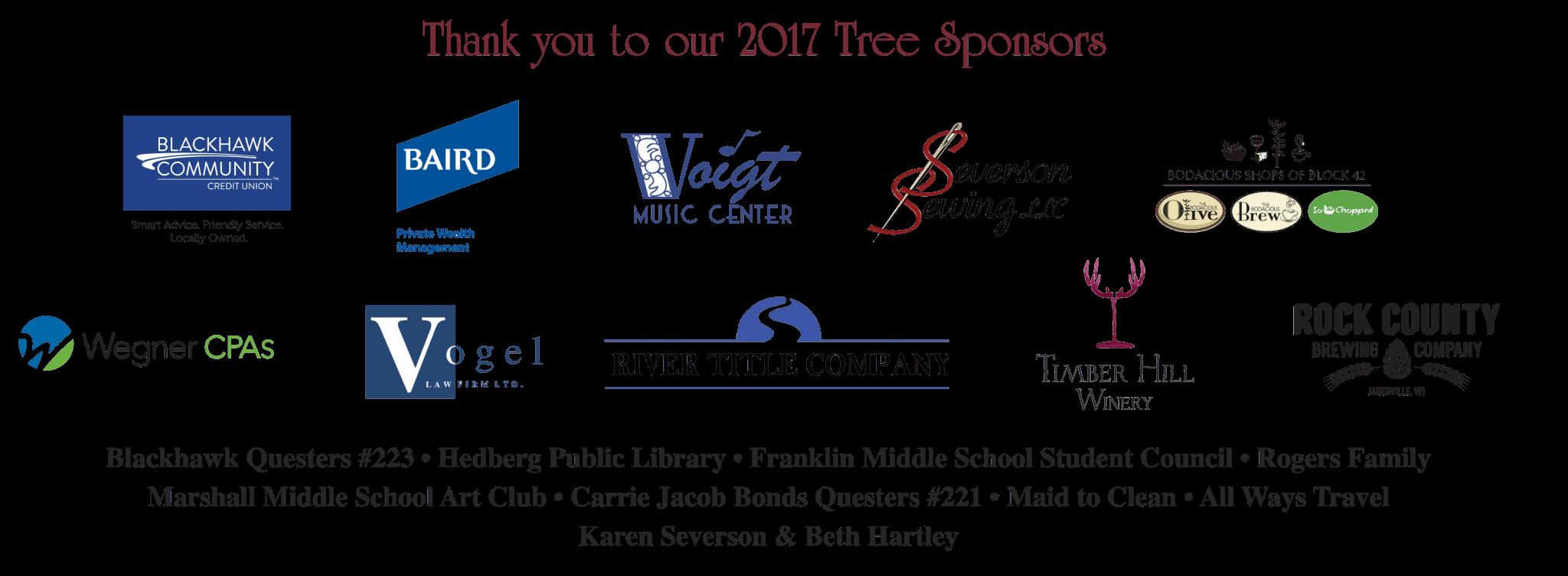 2017 RCHS Christmas Tree Sponsors