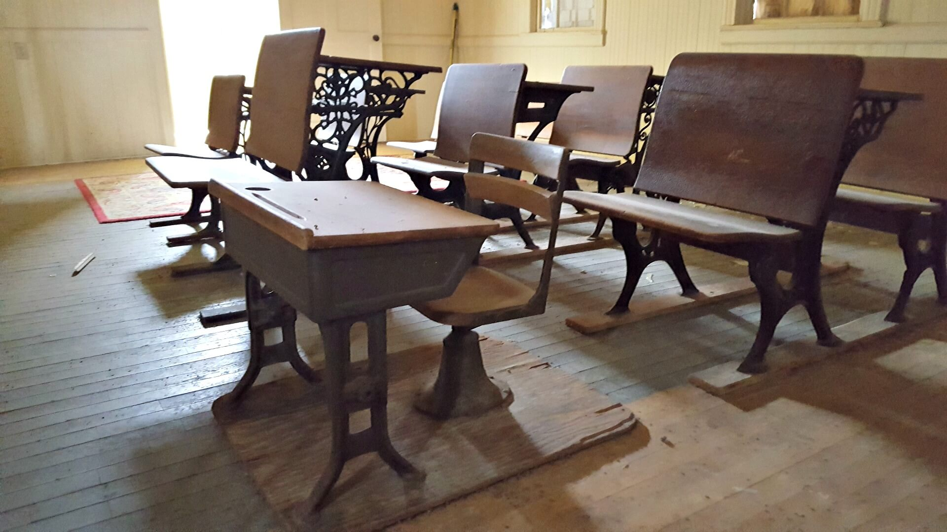 Desks inside the former Belding School