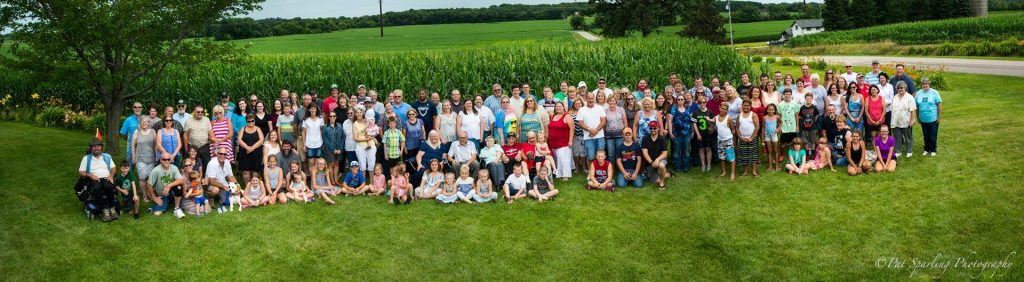 Harry's growing family on his 90th birthday - photo by Pat Sparling
