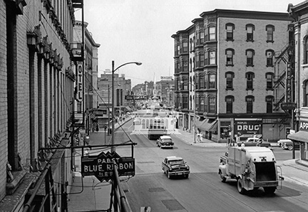 Milwaukee Street looking west, Milner Hotel, ca 1955