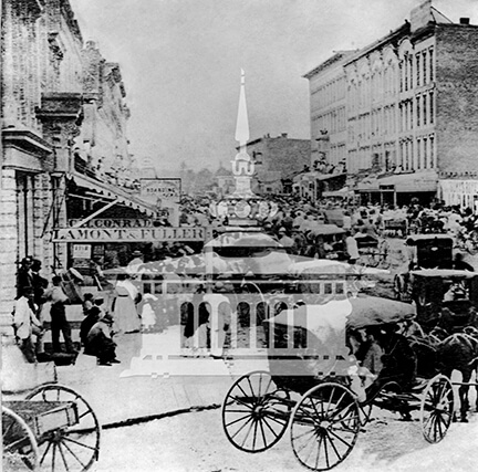 Fourth of July celebration, corner of Main and Court, ca 1870
