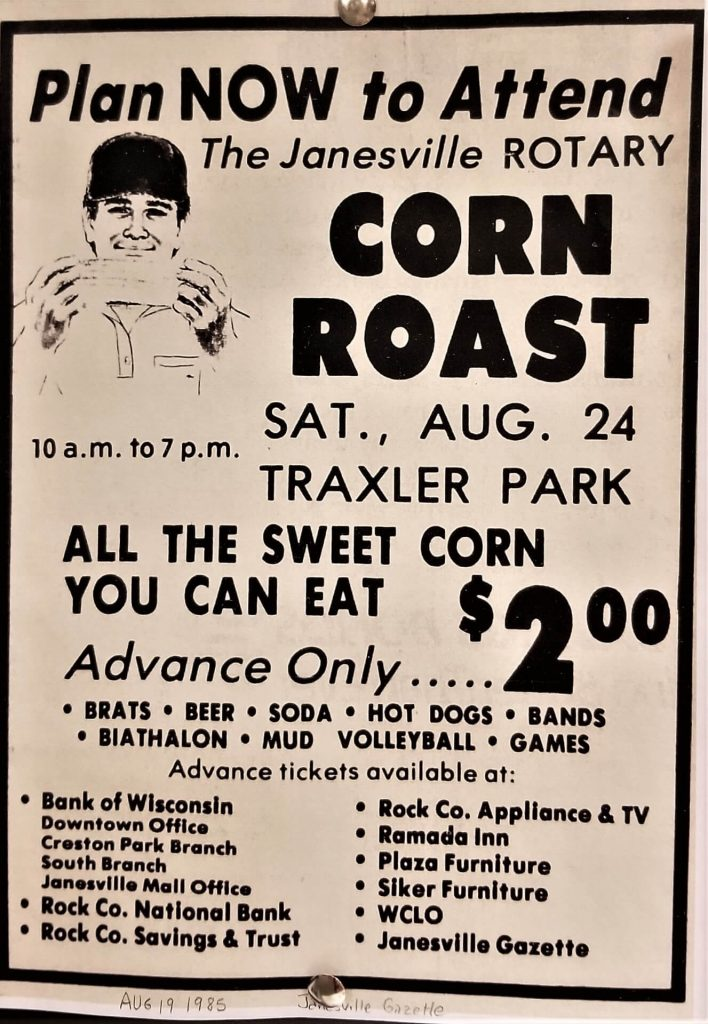 Janesville Gazette Corn Roast Ad from 1985
