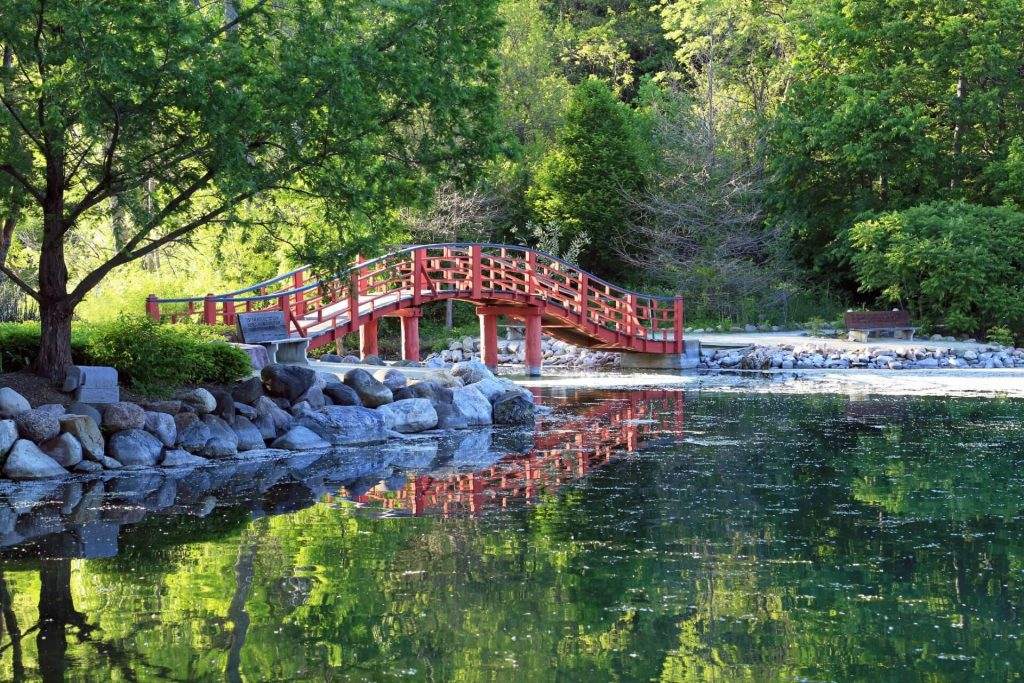 Japanese Bridge at Rotary Gardens. Photo by Marsha Mood.