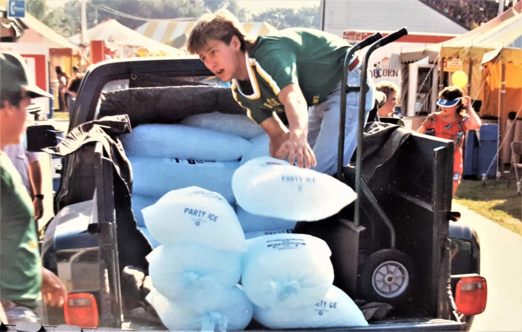 Jim Schultz delivering ice to the Rock County 4-H Fair