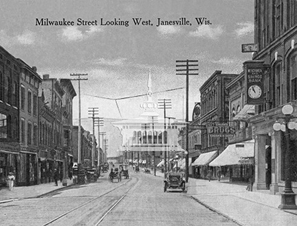 Milwaukee Street looking west, Janesville, Wis.