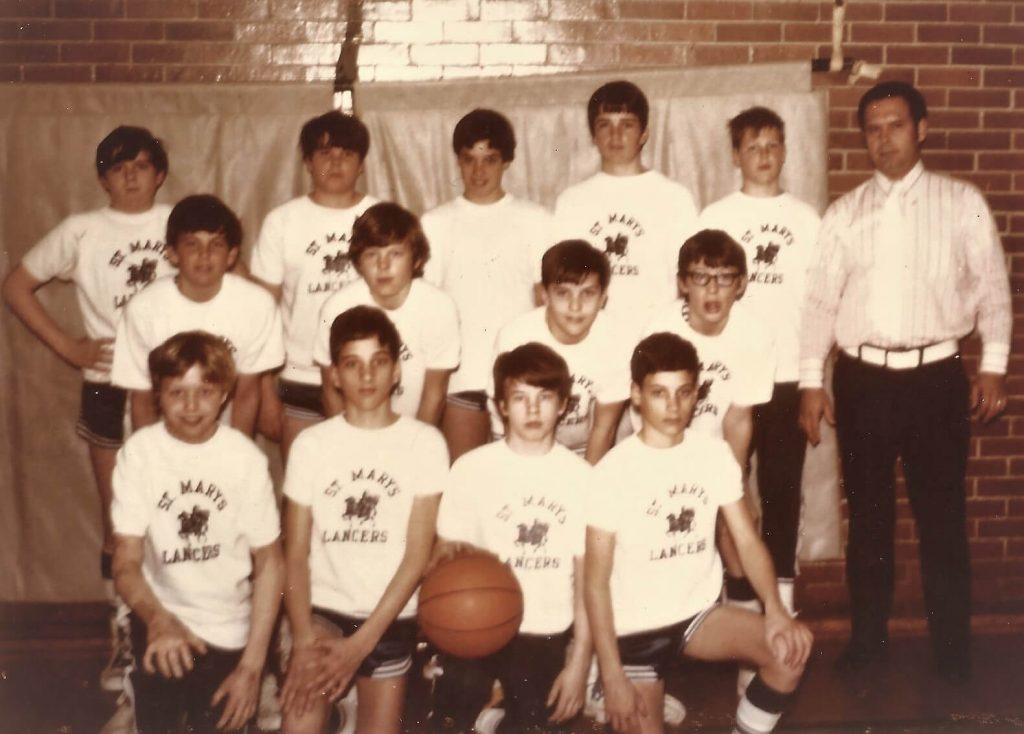 Paul (upper-left corner) with the St. Mary's Lancers team