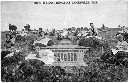 Postcard, Children on alfalfa