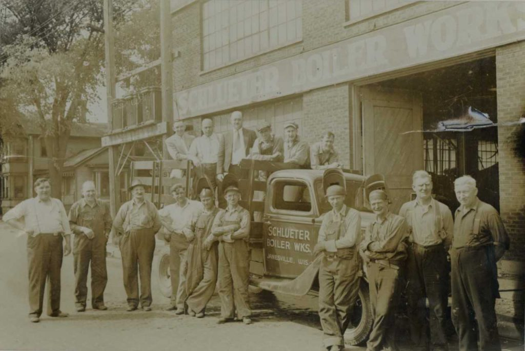 Bud Losching, on left, at Schlueter Boiler Works